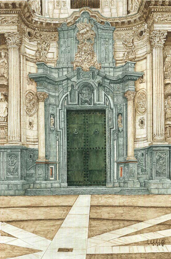 Detalle de la entrada de la Catedral en Murcia por la Plaza del Cardenal Belluga.