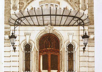 Puerta del Gran Hotel de Cartagena.